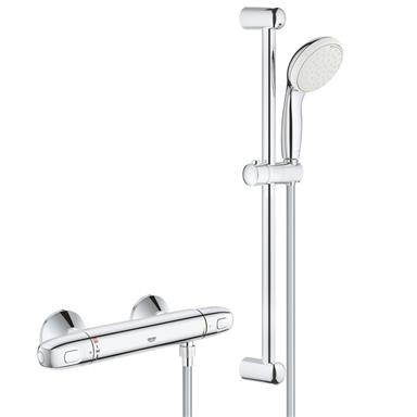 GROHE Grohtherm 1000 Thermostatic Bar Shower 1/2'' c/w Kit, Chrome, 34557 001
