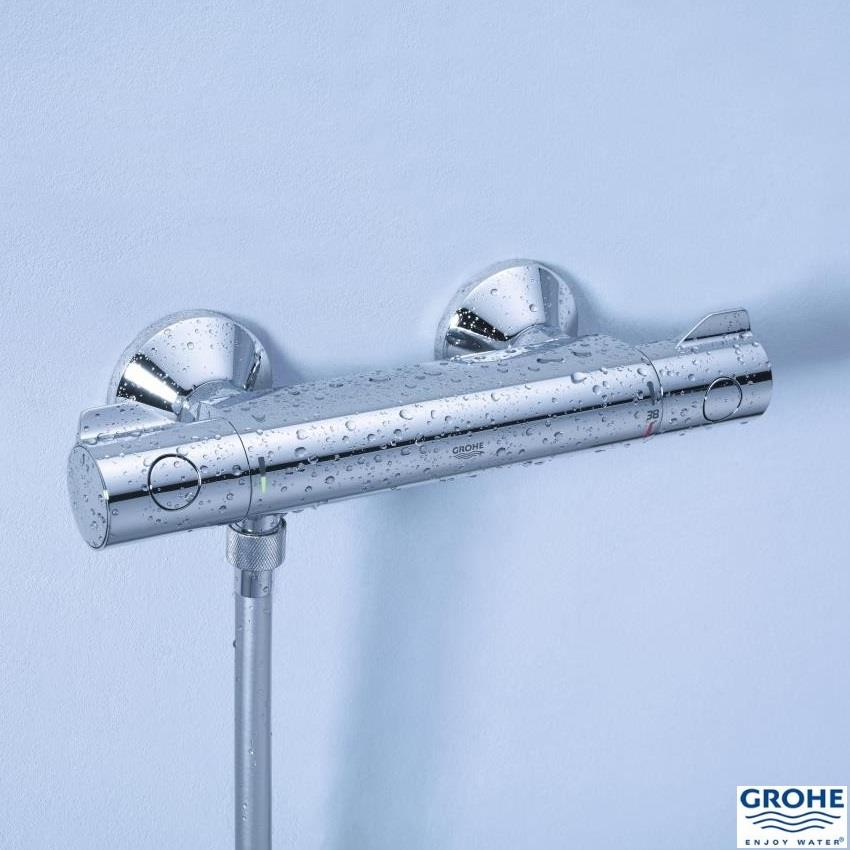 grohe grohtherm 800 thermostatic bar shower 1 2 39 39 c w kit. Black Bedroom Furniture Sets. Home Design Ideas