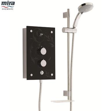 MIRA Galena Thermostatic 9.8kW Electric Shower Kit, Black Flock/Chrome 1.1634.083
