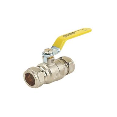15MM COMPRESSION LEVER VALVE - GAS YELLOWHANDLE