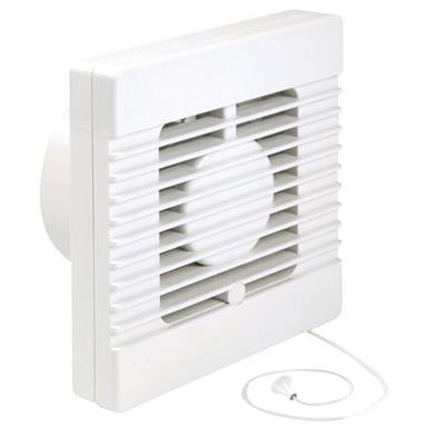 MANROSE INTERVENT 100MM BATHROOM EXTRACTORFAN W/PULLCORD SWITCH
