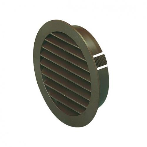 Manrose External 100mm Round Louvred Grille Brown