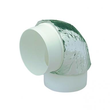 MANROSE 125MM ROUND DUCTING 90DEG HORIZONTAL BEND INSULATED