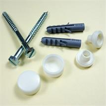 Standard WC Pan Fixing Set, BZP Coach Screws, White Caps