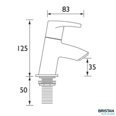 BRISTAN ORTA Bath Taps, Chrome, OR 3/4 C
