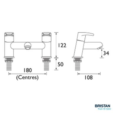 BRISTAN ORTA Bath Filler, Chrome, OR BF C