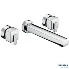 BRISTAN Qube 3 Hole Wall Mounted Basin Mixer Chrome Plated QU 3HWMBAS C
