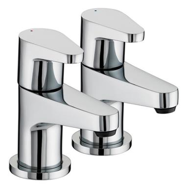 BRISTAN Quest Bath Pillar Taps Chrome Plated Lever Handles Pair QST 3/4 C