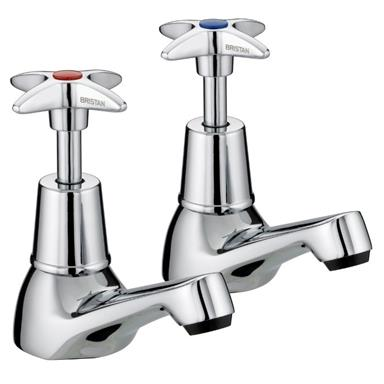 BRISTAN Value Crosshead Basin Taps ChromePlated Pair VAX 1/2 C