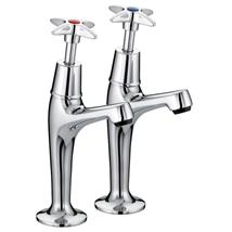 BRISTAN Value Crosshead Sink Pillar Taps High Neck Chrome Plated VAX HNK C