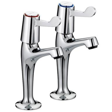 BRISTAN Value Lever Sink Pillar Taps High Neck Chrome Plated VAL HNK C CD