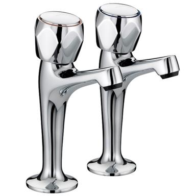 BRISTAN Value Club Sink Pillar Taps High Neck Chrome Plated VAC HNK C MT