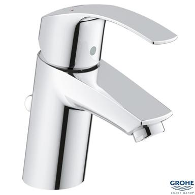 "GROHE Eurosmart Single Lever Basin Mixer 1/2"" Monobloc w/ PUW, Chrome, 33265 00L"