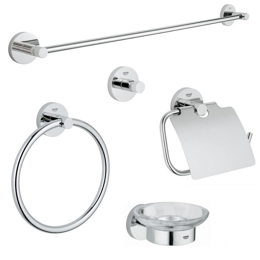grohe essentials bathroom accessories set chrome plated 40344 000. Black Bedroom Furniture Sets. Home Design Ideas