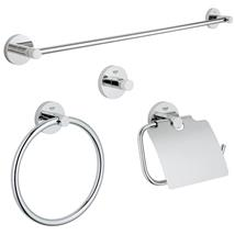 GROHE Essentials 4-in-1 Master Bathroom Accessories Set, Chrome, 40776 001