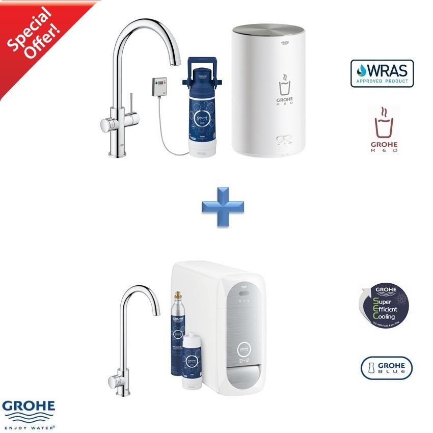 Godt GROHE Red Duo 2.0 Kitchen Mixer + Blue Home Mono Filter Tap Pack RS09