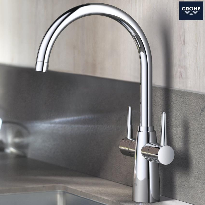 grohe kitchen sink taps grohe ambi contemporary monobloc two handle kitchen sink 4103