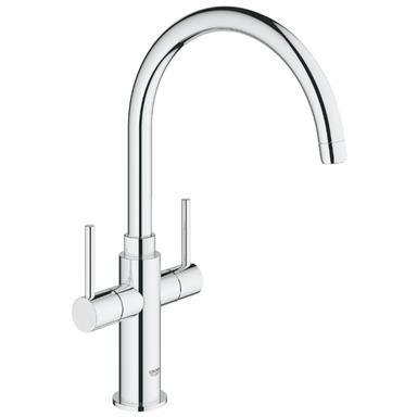 GROHE Ambi Cosmopolitan Monobloc Two Handle Kitchen Sink Mixer, Chrome, 30190 000