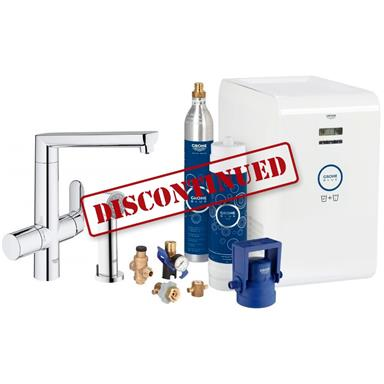 GROHE Blue K7 Chilled and Sparkling Filter Kitchen Mixer Starter Kit, Chrome 31355 001