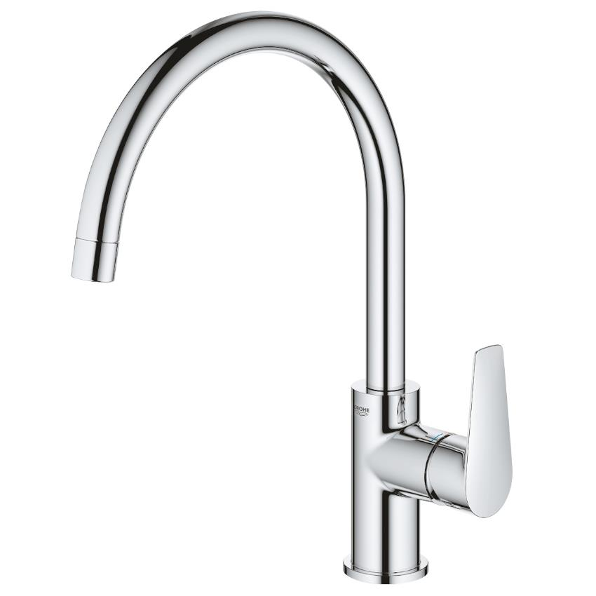 GROHE BauEdge Single Lever Monobloc Kitchen Sink Mixer, High Spout, Chrome 31367 001