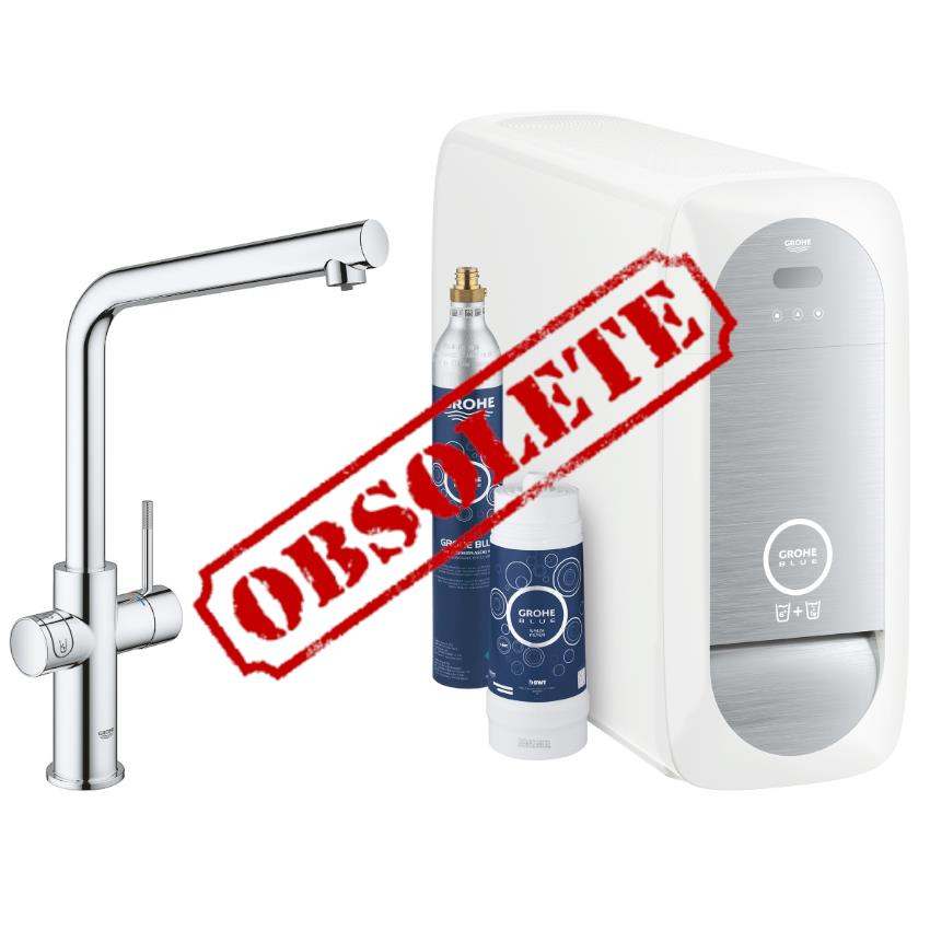 grohe blue home duo chilled and sparkling starter kit l spout chrome 31454 000. Black Bedroom Furniture Sets. Home Design Ideas
