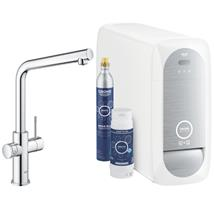 GROHE Blue Home Duo Chilled and Sparkling Starter Kit, L-Spout, Chrome, 31454 001