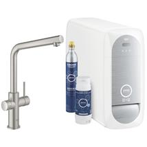 GROHE Blue Home Duo Chilled and Sparkling Starter Kit, L-Spout, Supersteel, 31454 DC1