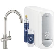 GROHE Blue Home Duo Chilled and Sparkling Starter Kit, C-Spout, Supersteel, 31455 DC1