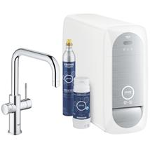 GROHE Blue Home Duo Chilled and Sparkling Starter Kit, U-Spout, Chrome, 31456 001