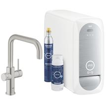 GROHE Blue Home Duo Chilled and Sparkling Starter Kit, U-Spout, Supersteel, 31456 DC1