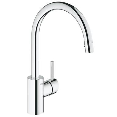 GROHE Concetto Monobloc Kitchen Sink Mixer, Arched Pull-Out Spout, Chrome, 31483 001