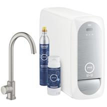 GROHE Blue Home Mono Chilled and Sparkling Starter Kit, Supersteel, 31498 DC1