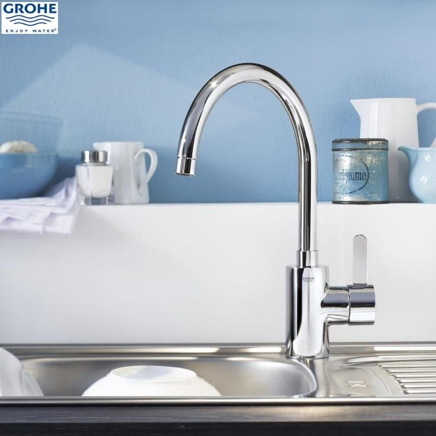 grohe eurosmart cosmopolitan monobloc kitchen sink mixer high spout 32843 000. Black Bedroom Furniture Sets. Home Design Ideas