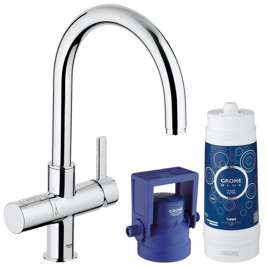 grohe blue pure filter kitchen mixer starter kit chrome 33249001 plumbing for less. Black Bedroom Furniture Sets. Home Design Ideas